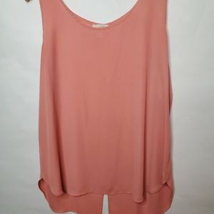 Loft Coral Tank with Button Down back XL